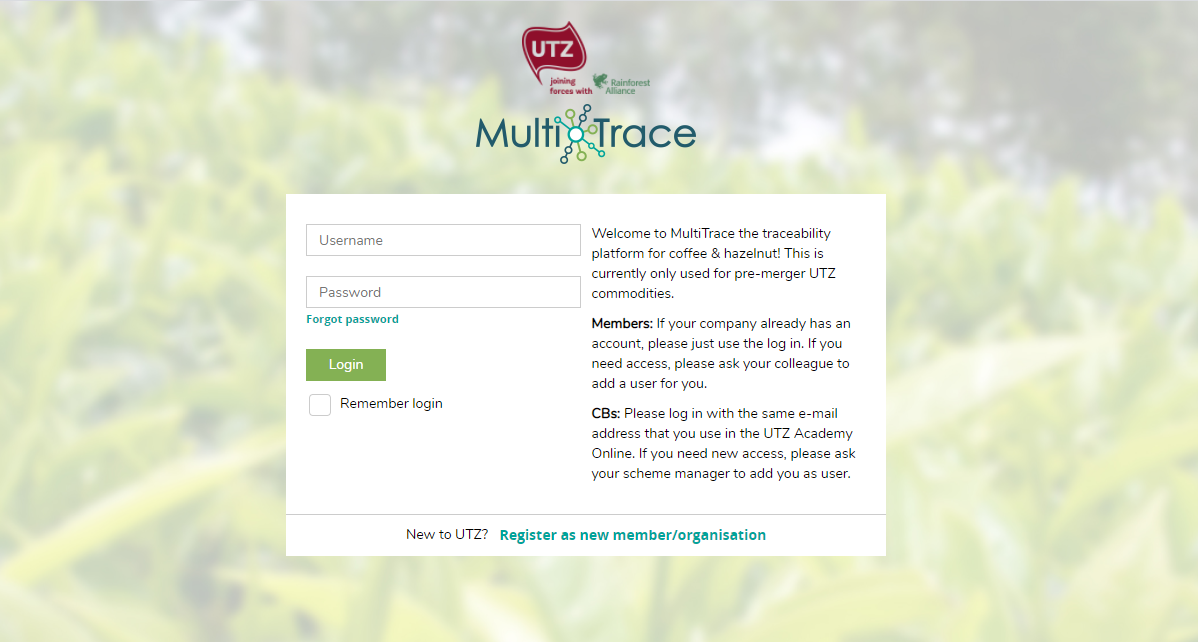 MultiTrace Login Page